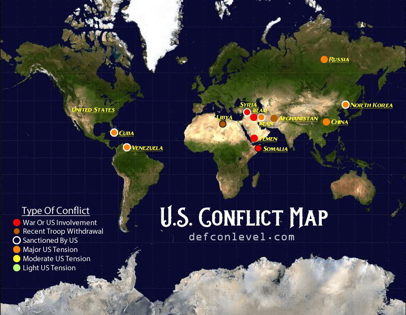 U.S conflict map - overall conflicts and wars globally