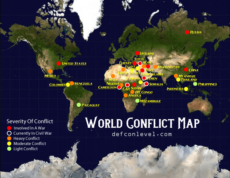 World conflict map - overall conflicts and wars globally