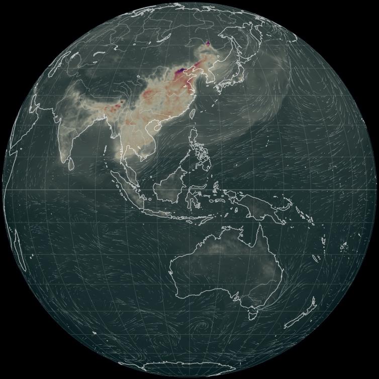 World carbon monoxide concentration map.