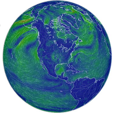 World wind map showing current hurricanes and typhoons.
